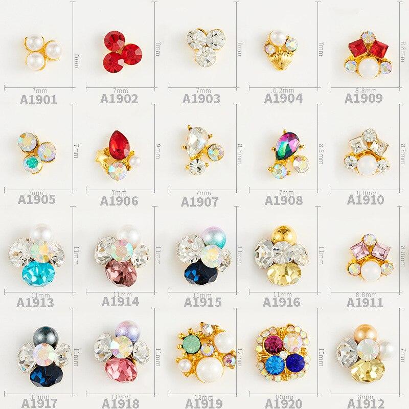 ¡Venta al por mayor! 100 uds, joyería para uñas hecha a mano, taladro de aleación para uñas, diamante, aleación decorativa