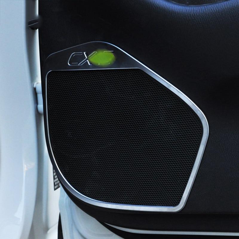 4 Uds ABS cromo para puerta interior de coche altavoz de Audio altavoz pegatina de cubierta embellecedora para Mazda CX-5 CX5 2015 2016 accesorio de coche estilismo
