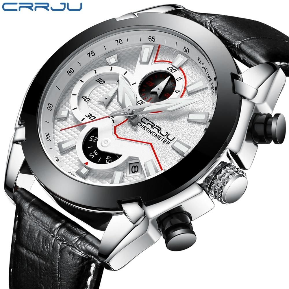 Relógio de Couro de Moda para Homens Cronógrafo à Prova Homens Relógios Reloj Hombre Crju 2021 Casuais Quartzo d' Água Presente Armbanduhren Herren