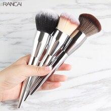 RANCAI 1pcs Very Big Powder Makeup Brush Face Foundation Blush Beauty Cosmetics Aluminum Make Up Brushes Tool Pincel Maquiagem