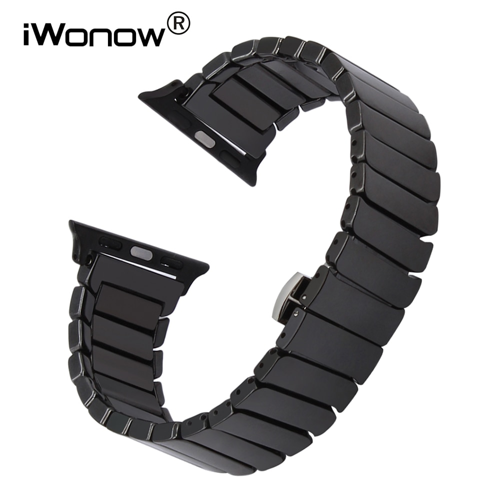 Полностью керамический ремешок для часов iWatch Apple Watch, 38 мм, 40 мм, 42 мм, 44 мм, серия 5, 4, 3, 2, 1, стальной браслет с застежкой-бабочкой