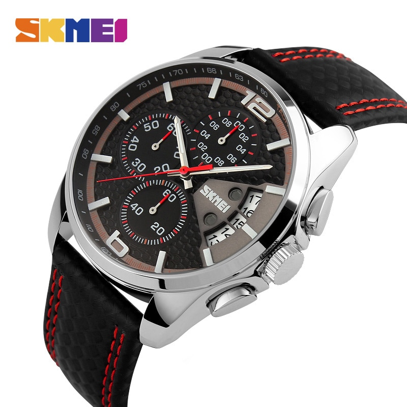 SKMEI новые модные мужские часы Аналоговые кварцевые наручные часы 30 м Водонепроницаемый Chronograph Date leather группа Relogio masculino 9106