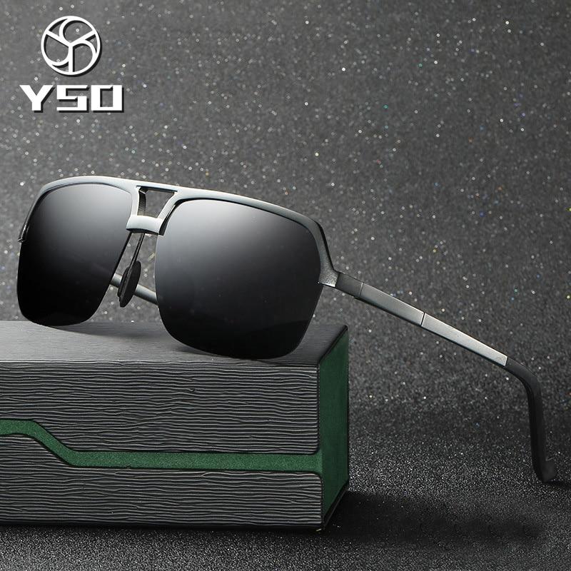 YSO Sunglasses Men Polarized UV400 Aluminium Magnesium Frame TAC Lens Sun Glasses Driving Glasses Sq