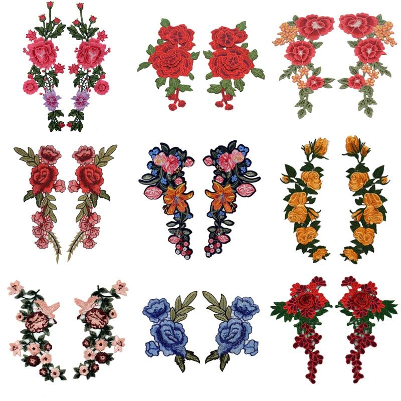 2 יחידותסט רקמת רוז פרח לתפור על/ברזל על תיקון Applique diy מלאכות Stiker עבור ג 'ינס כובע תיק בגדים אביזרי תגי