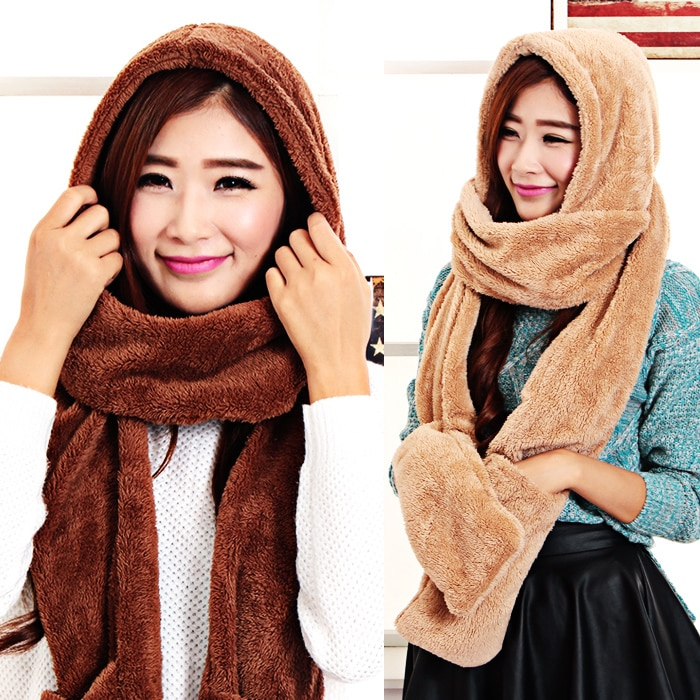 Autumn and winter women's thermal fleece winter hats scarf gloves one piece set kids winter scarf parent-child scarf