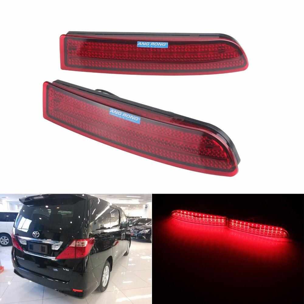 Красный отражатель заднего бампера ANGRONG 2x, светодиодный стоп-сигнал для Toyota Alphard MK I RAV4 (Vanguard/ACA33W) (CA166)