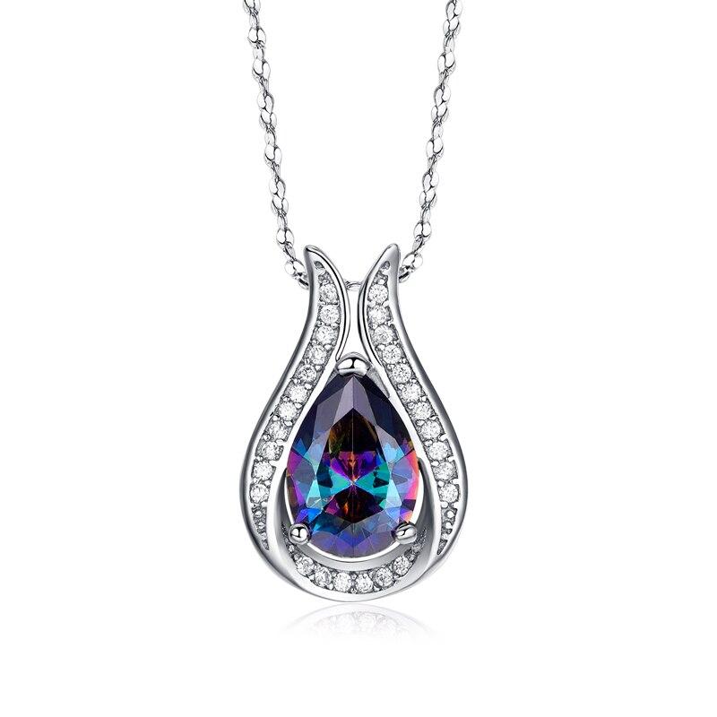 Atacado 100% real 925 pingente de prata esterlina marca qualidade superior arco-íris fogo mystic cristal colar para presente feminino jóias