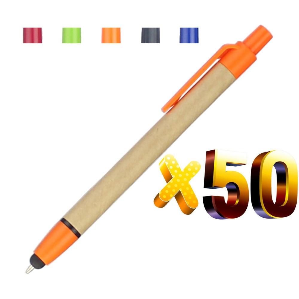 Набор 50 шт 2 в 1 стилус эко-бумага Шариковая ручка, сенсорный экран Шариковая, индивидуальные логотипом подарок, для смартфона