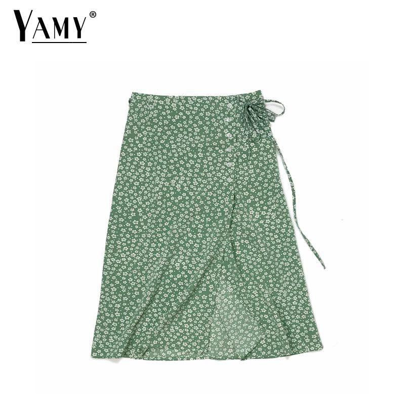 2019 Summer wrap long skirts womens vintage lolita green floral print split high waist skirt women korean fashion streetwear
