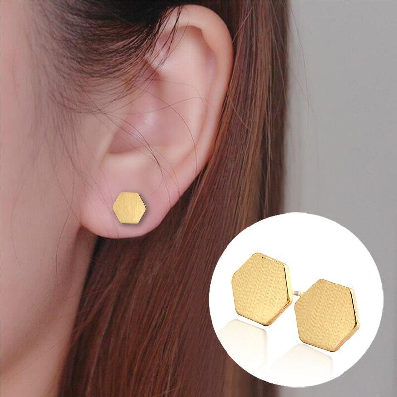 Shuangshuo nouvelle mode hexagone géométrique boucles doreilles pour femmes géométrique petites boucles doreilles cadeau de fête