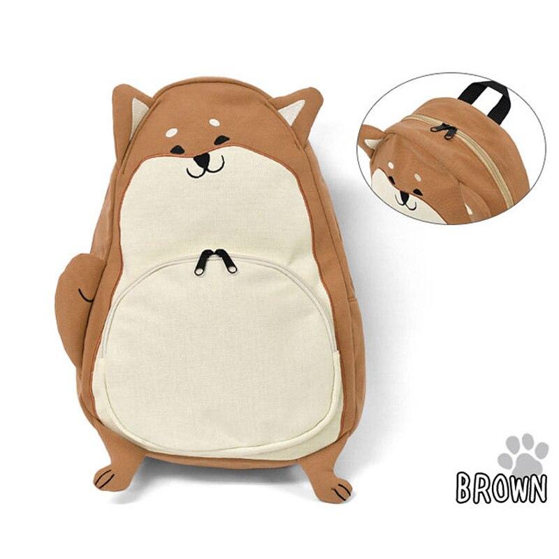 Estilo japonés 2 colores Corgi perro Shiba Inu Doge mochila Wo chica estudiante niños Bolsa Escolar lindo regalo