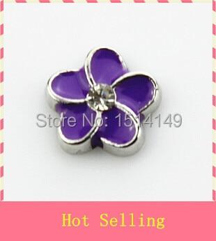 Venta caliente oscuro púrpura Flor del Plumeria flotante encanto viviendo vidrio flotante encantos de memoria