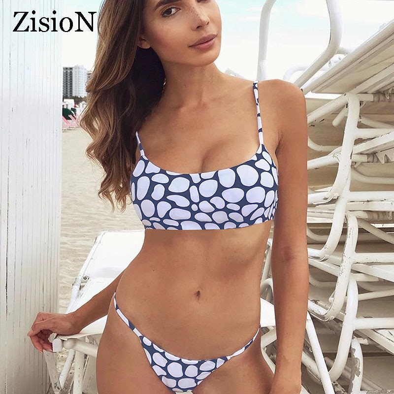 Conjunto de Bikini con estampado de puntos de ZisioN 2018 para mujer traje de baño sin espalda Bikini Sexy Bikini de dos piezas Tanga brasileño traje de baño femenino pad