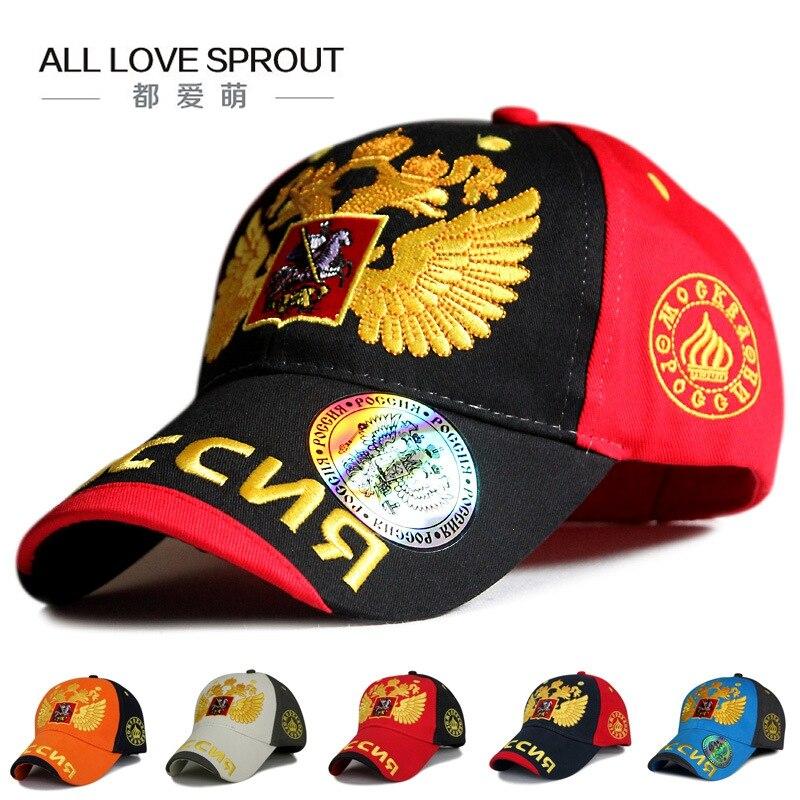 Gorra de béisbol con águila de dos cabezas rusa 2018, gorra de algodón negra a la moda para hombre, gorra con visera, gorras con visera