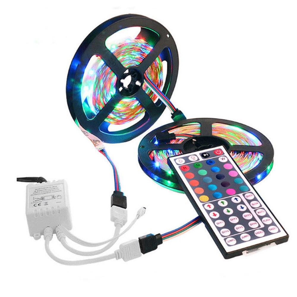 RGB LED Strip 10M(2*5M) SMD 3528 LED Light IR Remote Controller 12V Power Adapter Flexible Light Led Tape Home Decor Remote @D