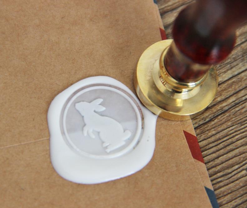 Sello de sello de cera de conejo blanco/sello de cera de sellado/estampilla de conejo ws090