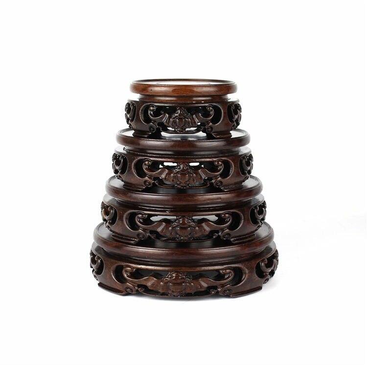 Base circular de ébano de palisandro negro, base de madera, piedra, jade, adornos, base de tetera de bonsái