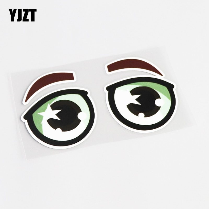 YJZT 13.5CM*7.5CM For Waterproof Cute Eye Car Sticker Decal PVC Accessories 13-0460