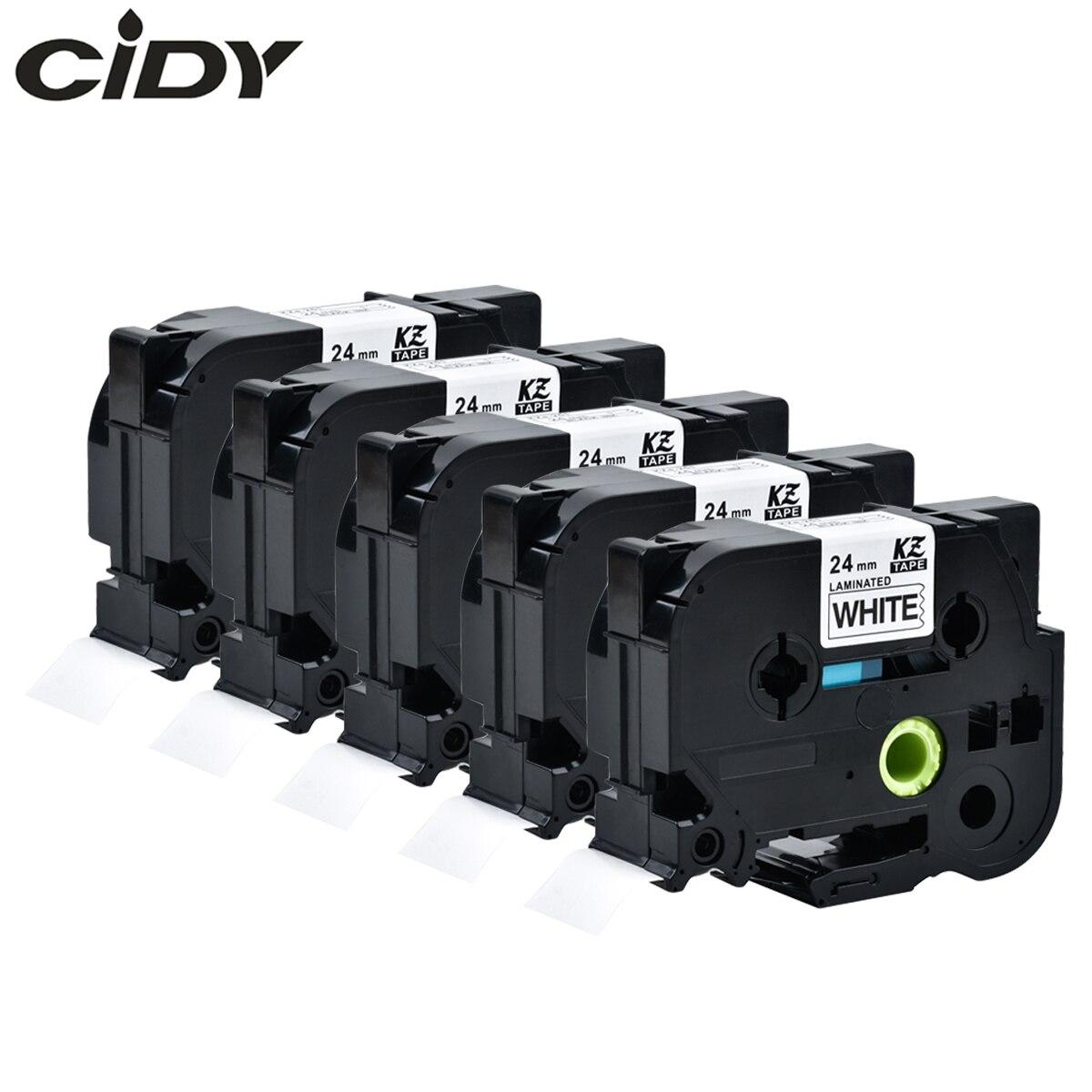 CIDY 5 uds Compatible p touch laminado tze 251 tz251 tze251 cinta 24mm negro sobre blanco cinta tze-251 tz-251 para Impresoras brother