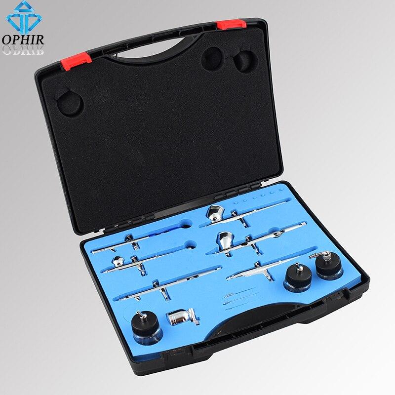 OPHIR-Juego de aerógrafo de doble acción, 6 uds., 0,2mm, 0,3mm, 0,35mm, pistola de aerógrafo para MODELO, Hobby, decoración de tartas, pintura corporal, AC048