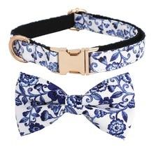 Indigo Blue Floral Pattern Dog Bow Tie Collar Blue and White Porcelain adjustable pet cotton dog &cat gifts