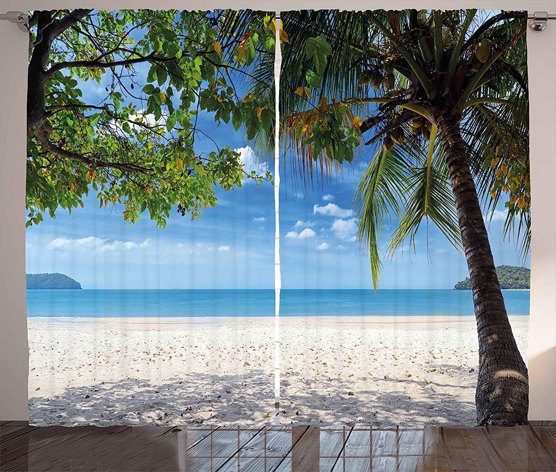 Cortinas de verano, playa Tropical, Océano, detrás de palmera, Caribe, exótico, vacaciones, imagen, sala de estar, dormitorio, ventana, Panel de decoración