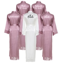 Owiter Bridesmaid Mauve Long Large Plain Mother Bride Kimono Silk Satin Night Dress Gown Wedding Rob