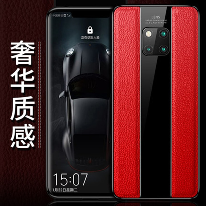 Luxuoso Estojo De Couro Genuíno para Huawei Companheiro 20Pro 20X Quadro de Silicone Macio para Huawei Companheiro Mate20 10 Pro Free Screen protetor