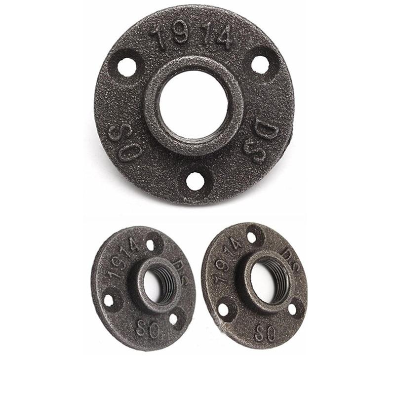 """1/2 """"3/4"""" BSP de tubería de hierro negro maleable de montaje en pared piso brida soporte tubo fontanería herramientas de Hardware"""