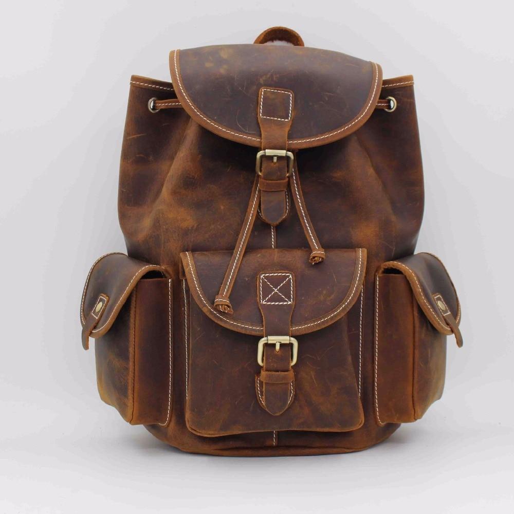 Crazy Horse-حقيبة ظهر من جلد البقر للرجال ، حقيبة ظهر مدرسية ، حقيبة ظهر ، حقيبة سفر ، عتيقة ، جلد طبيعي 100%