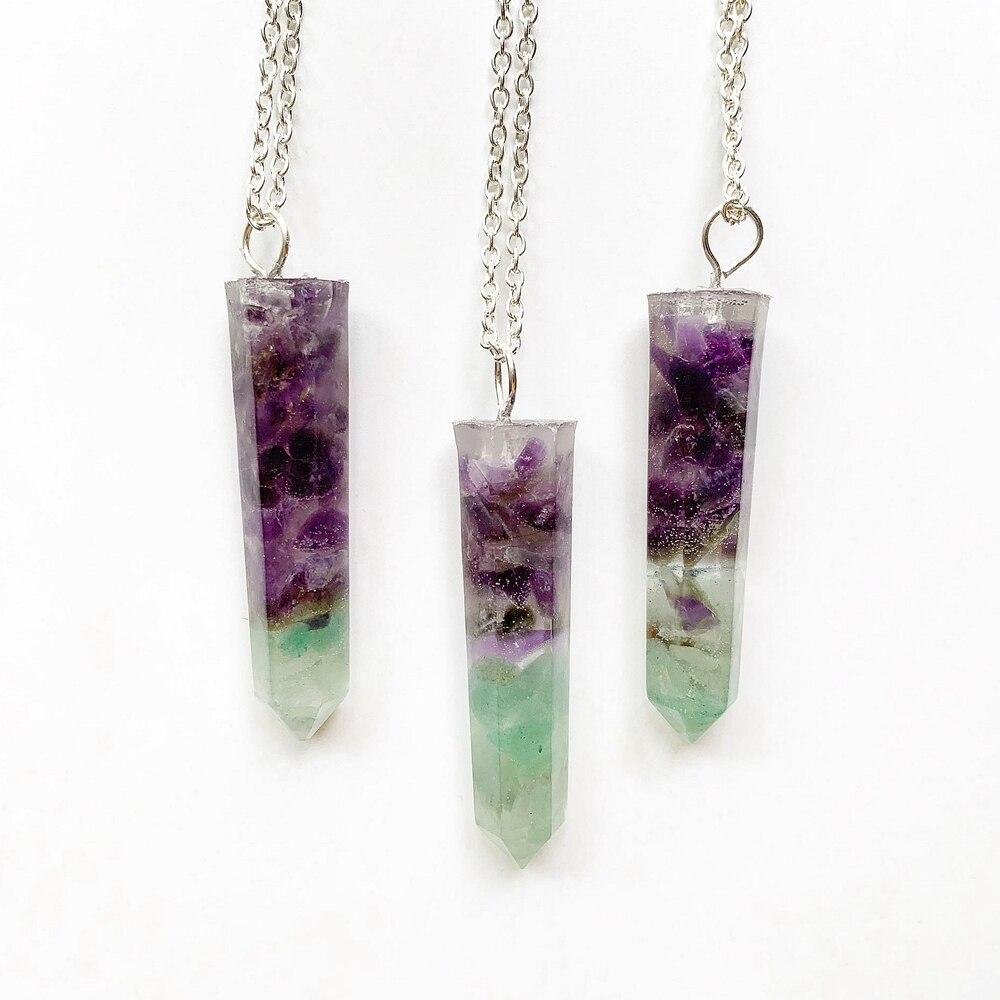 Piedra Aventurina verde colgante de cristal violeta orgón energía collar color plata cadena Hexagonal hombres collar PIEDRA Natural