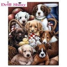 Groupe danimaux chien broderie bricolage 5d   Bricolage, peinture diamant incrustée, strass inachevé, tous diamants creuset, décoration de maison