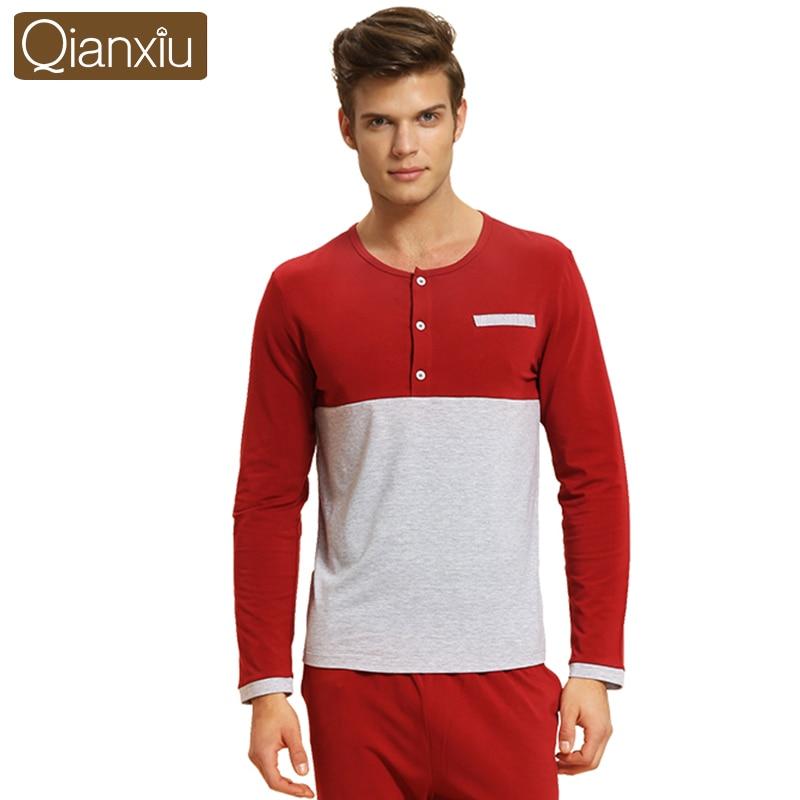 Qianxiu pijamas para homens modal retalhos casa conjunto roupa interior algodão lounge wear casual pijamas conjuntos 1540