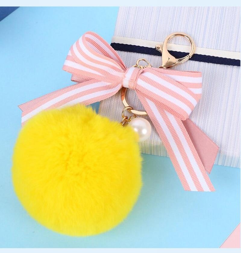 Cute Striped Bow Fur keychain Pearl Pompom Fake Fur Ball Key Chain Fluffy Pompon Keyring Bag Charms Key Ring Llaveros Chaveiros