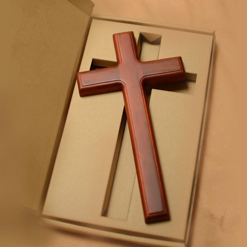 Parede de madeira maciça cruz crucifixo 32cm decoração da parede presente cristão pendurado na parede