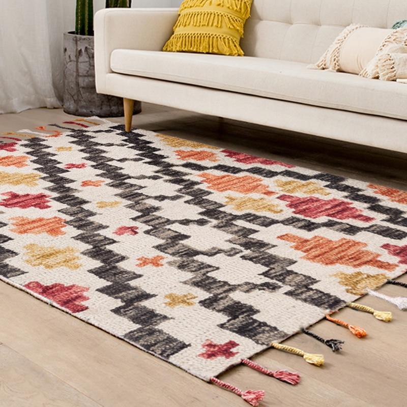 India importa Kilim Alfombra de lana hecha a mano Sala sofá mesa de té alfombra con alfombra gruesa geométrica americana Villa uso