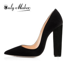 Onlymaker femmes bout pointu bloc classique 12cm talons hauts sans lacet chaussures épaisses robe de bureau de mariage grande taille