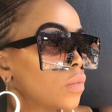 Oversized Gradient Square Sunglasses Men Women Flat Top Fashion One Piece Lens Sun Glasses Women Bra