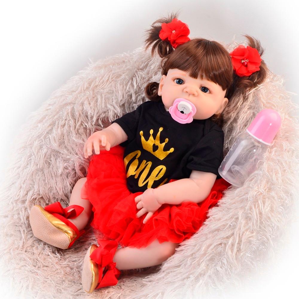 55 cm Corpo Cheio de Silicone Bebê Reborn Boneca de Brinquedo Para A Menina bambole Princesa realista boneca reborn Bebes reborn juguetes crianças presente