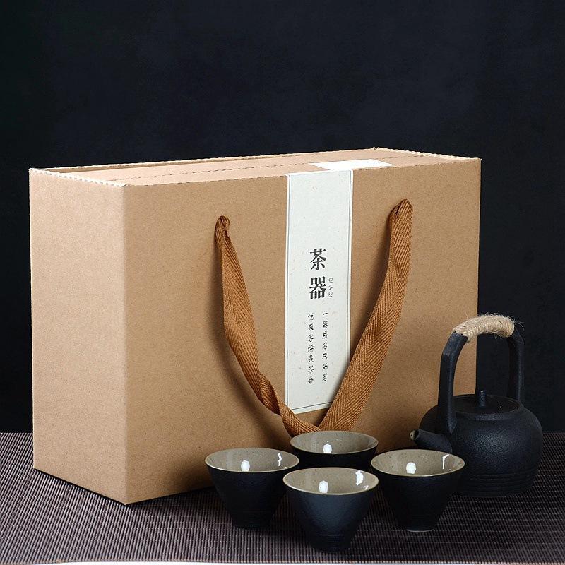 Juego de té de arena púrpura, tetera de cerámica negra kungfú chino, tetera hecha a mano, tetera, tetera, Gaiwan Tureen, juego de té, caja de regalo
