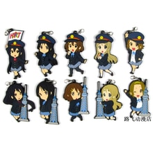 K-ON Hirasawa Yui Akiyama Mio Tainaka Ritsu Nakano Azusa Yamanaka Sawako figurka Anime Model gumowy brelok zawieszka 6cm