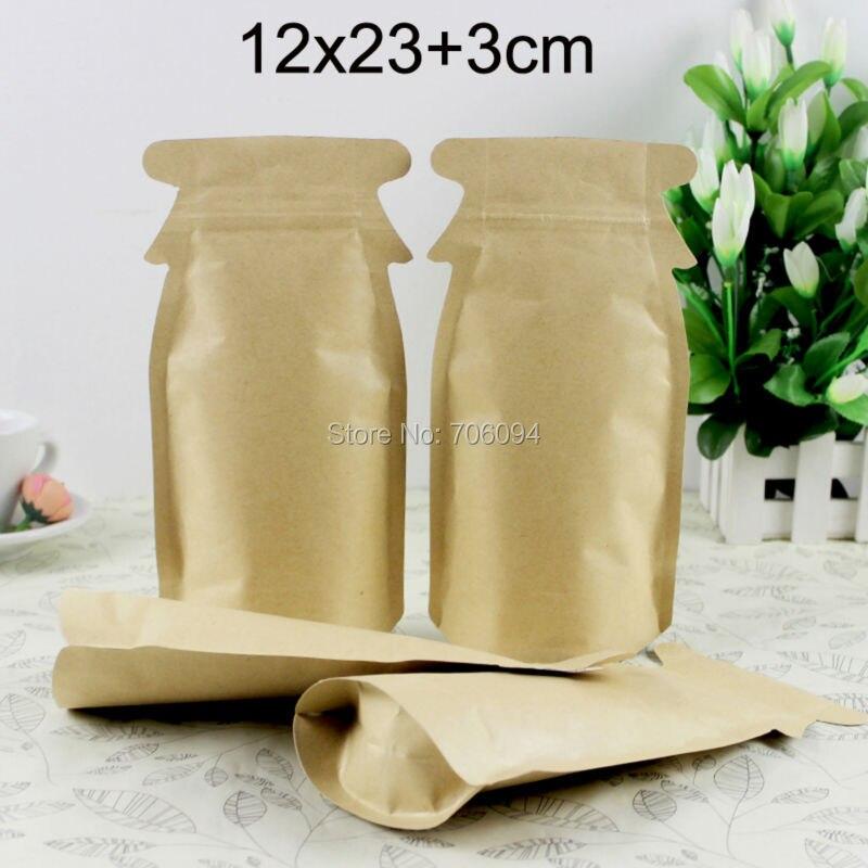 200 Uds 12*23 + 3cm Bolsas de papel Kraft marrón Bolsas de papel autoselladas ziplock Bolsas de azúcar Bolsas de embalaje Bolsas de galletas bolsa de papel bolsa de té