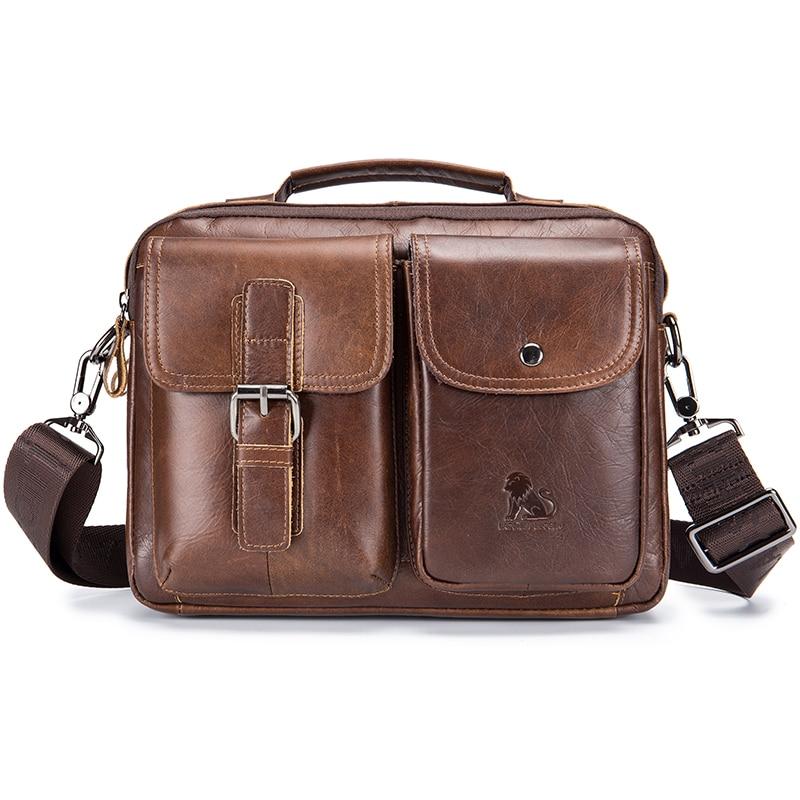 Laoshizi 100% bolso de mensajero de cuero genuino para hombre bolso de hombro Vintage bolso bandolera para hombres bolso de mano de oficina de negocios