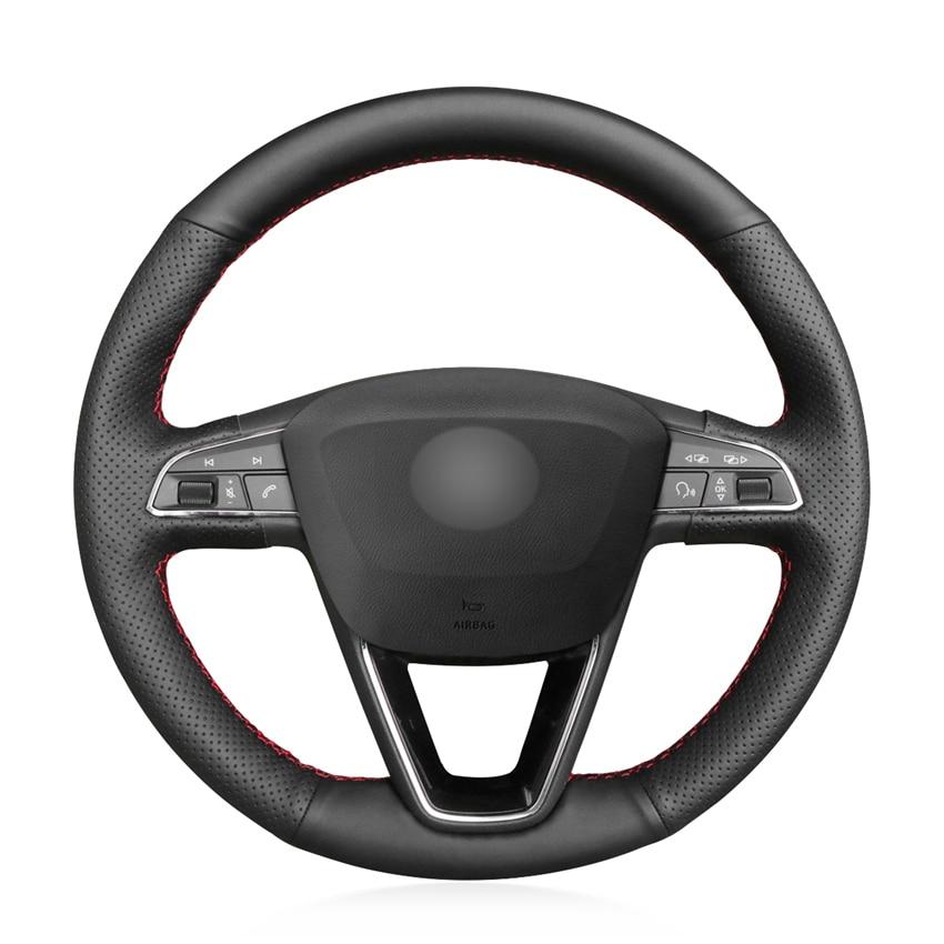 -Negro de punto PU de Micro fibra de cuero protector para volante de coche para asiento Leon Ibiza 6J 2016-2019 Arona Alhambra 5F Mk3 2013