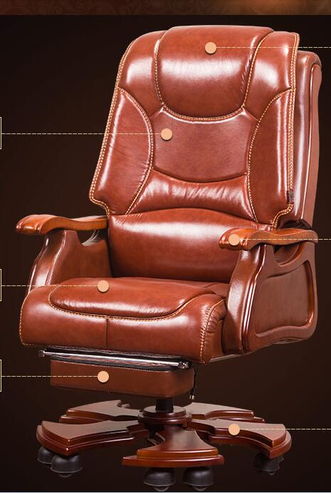 Boss chair leather reclining massage chair chair wood swivel chair computer chair home lift office chair. leather computer chair household office chair office stool long sitting chair solid wood boss chair lying massage