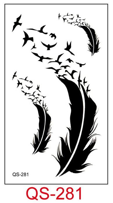 Tatuaje temporal a prueba de agua pegatinas pluma tatuaje falso figura geométrica de animal Flash tatuaje mano parte trasera del pie para chica mujeres hombres