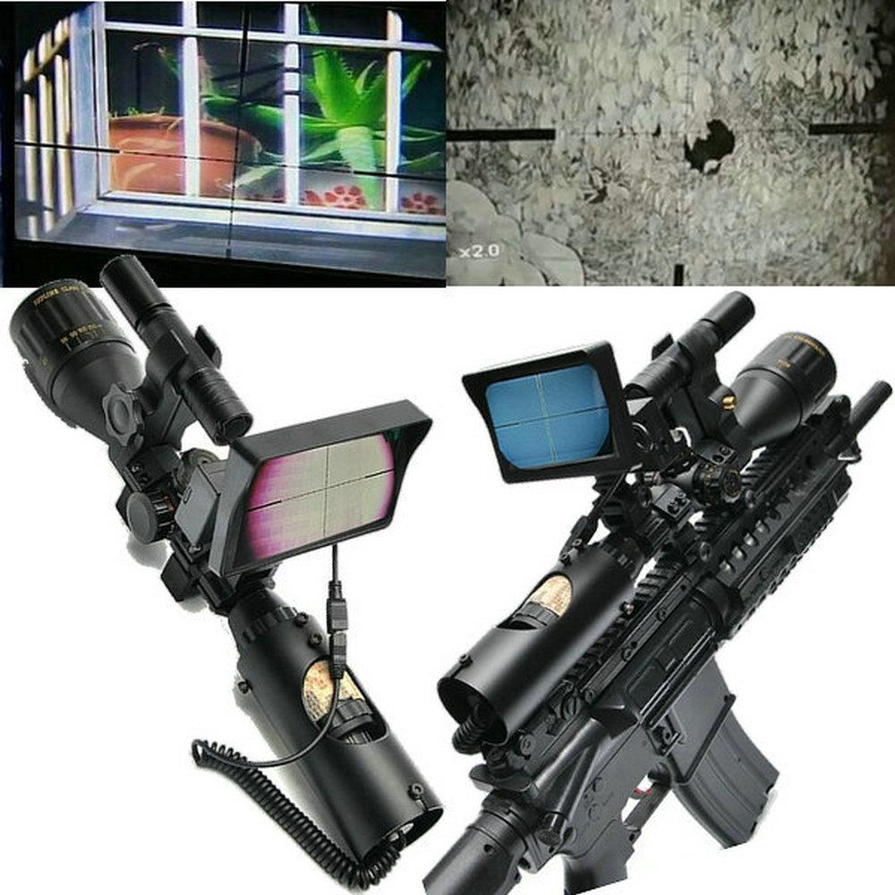 Câmera com visão noturna para rifle, faça você mesmo, monitor lcd, câmera para trilha de caça com luz infravermelha moncular