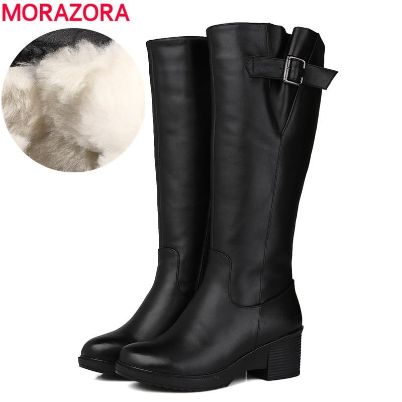 MORAZORA حجم 35-43 جديد 2021 بوط من الجلد الطبيعي أحذية منصة الصوف الطبيعي المرأة الشتاء حذاء برقبة للركبة أحذية الثلوج الموضة