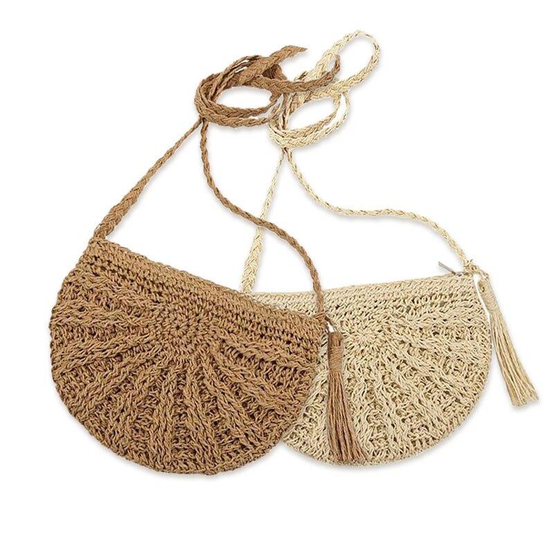 Saco de palha bolsas femininas boho artesanal tecido bolsa de ombro crossbody rattan praia sacos férias verão