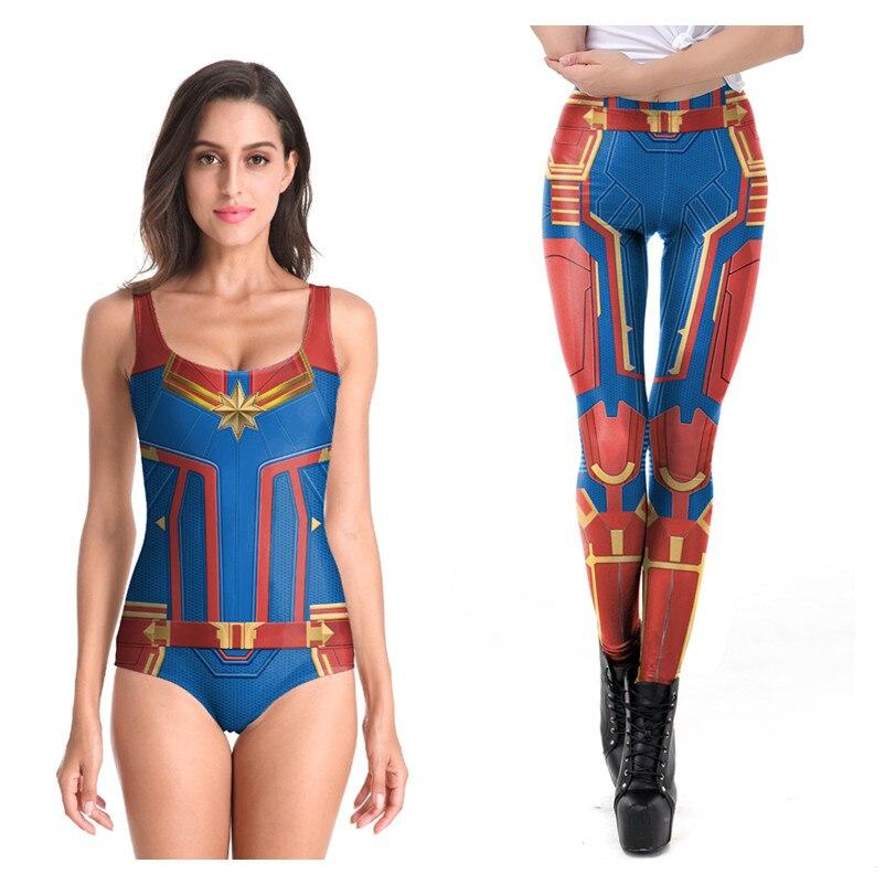 Avengers Endgame Captain Marvel Carol Danvers Cosplay Kostüme Frauen Mädchen Sexy Sommer T-shirt Badeanzug Bademode Strumpfhosen Anzug Neue